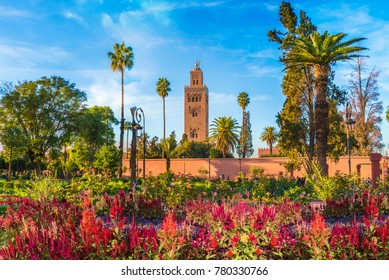 View of Koutoubia Mosque and gardem in Marrakesh, Morocco