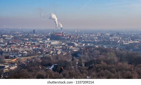 The view of the Krakow city center from Kopiec Kościuszki hill outlook. Krakow, Poland.