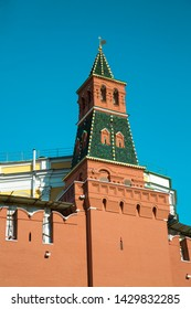 View of the Kremlin Armory tower on a clear Sunny day. Moscow attractions of World tourism.