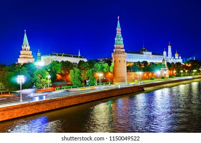View of Kremlin and Moscow River at night in Moscow, Russia.