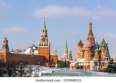 View of the Kremlin and St. Basil's Cathedral. Moscow.Russia.