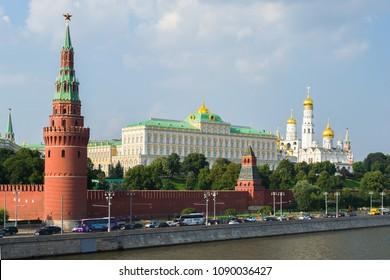 View of the Kremlin, The Vodovzvodnaya Tower, Moscow river and the residence of the president of the Russian Federation. Moscow, Russia.