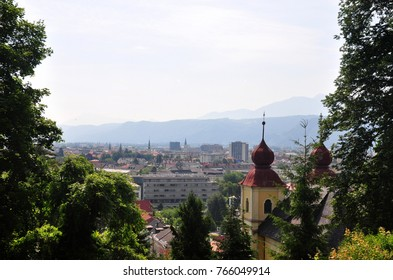 View from Kreuzbergl on Klagenfurt, Austria