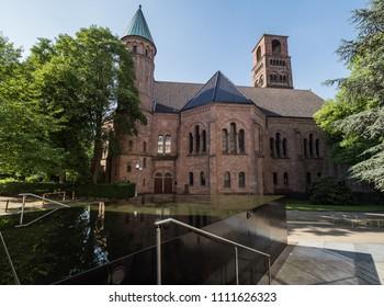 View of Kreuzeskirche in Essen, Germany. Evangelical Church of Essen