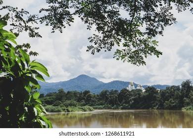 A view of Kuala Kangsar green nature,skies and mountain scenery with perak iskandariah royal palace view in the background. Kuala Kangsar city is a Perak Royal City located in Perak,Malaysia - image