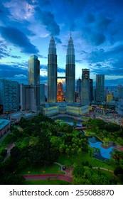 View of Kuala Lumpur skyline at sunset