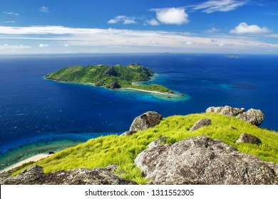 View of Kuata Island from Vatuvula Volcano on Wayaseva Island, Yasawa Islands, Fiji