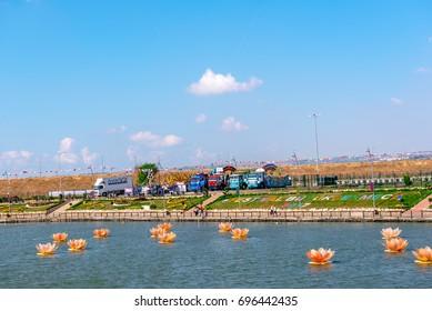 View of Kucukcekmece lake where Mimar Sinan(Architect Sinan)Bridge which was built by Ottoman Architecture Mimar Sinan (Architect Sinan).TURKEY, ISTANBUL,30 JULY 2017