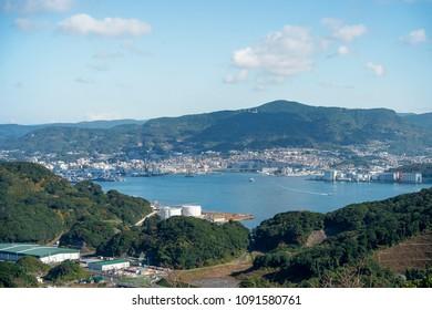 View of Kujuku island (99 islands) in Sasebo, Nagasaki, Japan.