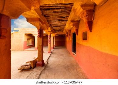 View of Kuldhara abandoned village home interior near Jaisalmer, Rajasthan, India