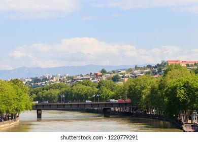 View of Kura (Mtkvari) river in Tbilisi, Georgia