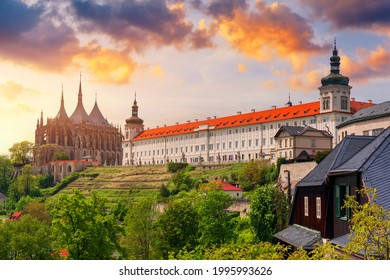 View of Kutna Hora with Saint Barbara's Church that is a UNESCO world heritage site, Czech Republic. Historic center of Kutna Hora, Czech Republic, Europe.  - Shutterstock ID 1995993626