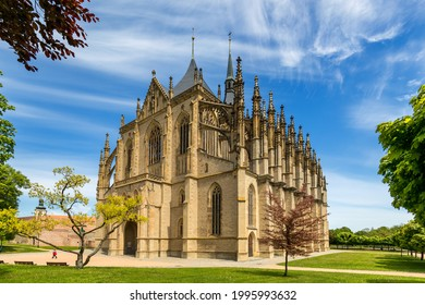 View of Kutna Hora with Saint Barbara's Church that is a UNESCO world heritage site, Czech Republic. Historic center of Kutna Hora, Czech Republic, Europe.  - Shutterstock ID 1995993632