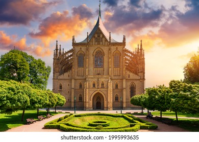 View of Kutna Hora with Saint Barbara's Church that is a UNESCO world heritage site, Czech Republic. Historic center of Kutna Hora, Czech Republic, Europe.  - Shutterstock ID 1995993635