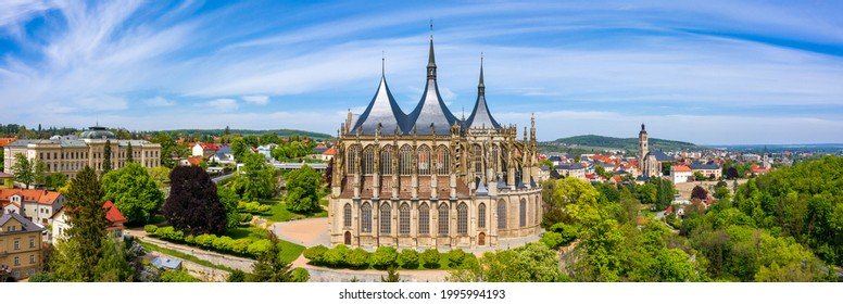 View of Kutna Hora with Saint Barbara's Church that is a UNESCO world heritage site, Czech Republic. Historic center of Kutna Hora, Czech Republic, Europe.  - Shutterstock ID 1995994193