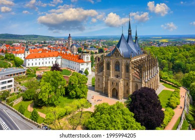 View of Kutna Hora with Saint Barbara's Church that is a UNESCO world heritage site, Czech Republic. Historic center of Kutna Hora, Czech Republic, Europe.  - Shutterstock ID 1995994205