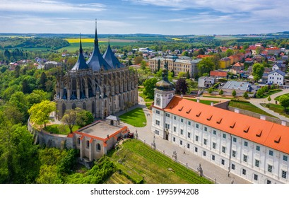 View of Kutna Hora with Saint Barbara's Church that is a UNESCO world heritage site, Czech Republic. Historic center of Kutna Hora, Czech Republic, Europe.  - Shutterstock ID 1995994208
