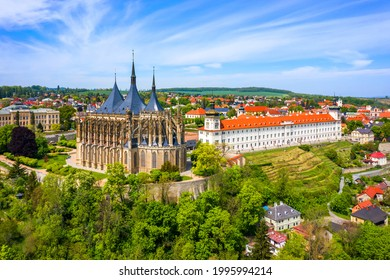 View of Kutna Hora with Saint Barbara's Church that is a UNESCO world heritage site, Czech Republic. Historic center of Kutna Hora, Czech Republic, Europe.  - Shutterstock ID 1995994214