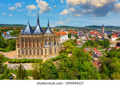 View of Kutna Hora with Saint Barbara's Church that is a UNESCO world heritage site, Czech Republic. Historic center of Kutna Hora, Czech Republic, Europe.  - Shutterstock ID 1995994217