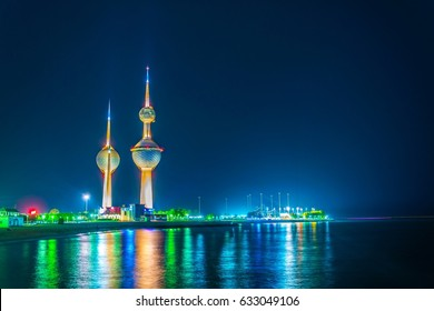 View of the Kuwait Towers - the best known landmark of Kuwait City - during night