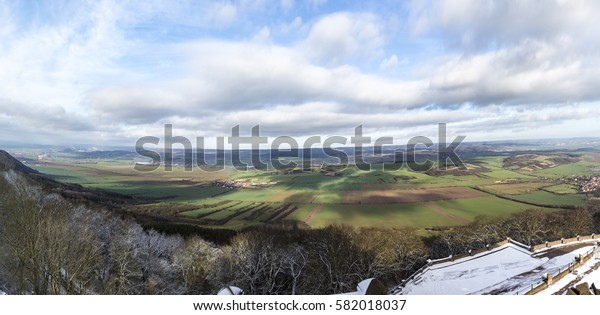 view from Kyffhaeuser monument tio the valley and rural area in Thuringia, Germany.