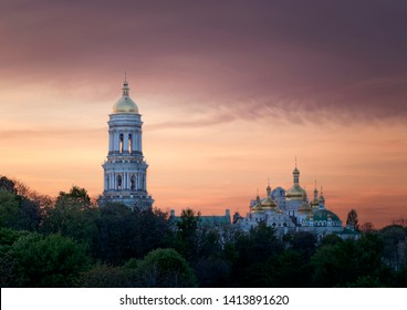 View of Kyiv Pechersk Lavra in the colorful sunset