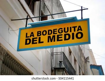 View of La Bodeguita del Medio bar sign, inside the Old City of Havana in Cuba.