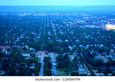 The view of La Crosse Wisconsin late in the evening from Granddad Park high above the city.