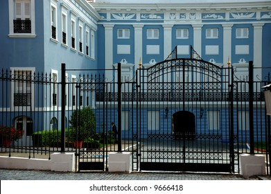 View of La Fortaleza Castle, official house of the governors of Puerto Rico. Magnificent example of Old San Juan Spanish architecture.