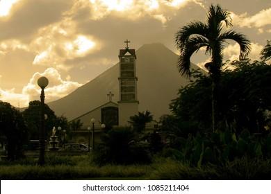 View of the La Fortuna Church and Arenal Volcano in La Fortuna, Costa Rica