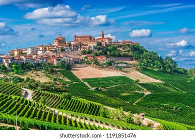 View of La Morra in the Province of Cuneo, Piedmont, Italy.