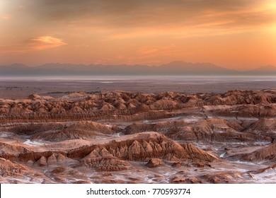 View from La Piedra del Coyote, Valle de la Muerte after sunset, Valle de la Luna, Atacama desert, Chile