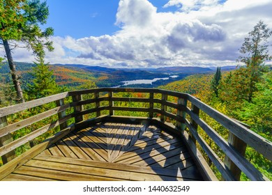 View of La Pimbina valley with fall foliage colors in Mont Tremblant National Park, Quebec, Canada