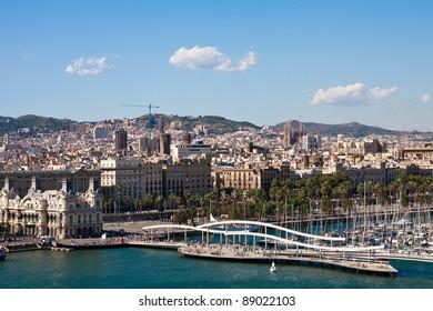 View of La Rambla del Mar and Port Vell in Barcelona Spain
