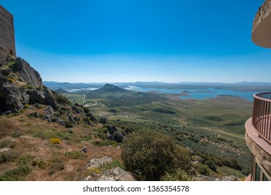 View of the La Serena Reservoir from the viewpoint of the Castle of Puebla de Alcocer, with the small village of Esparragosa de Lares in the foreground