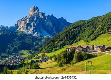 View of La Villa alpine village in Dolomites Mountains, South Tyrol, Italy