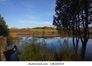 view of lac adolphe at marbleton town of dudswell on the townships trail of eastern townships in quebec, canada