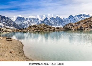 View Of Lac des Cheserys And Mountain Range With Mont Blanc-France