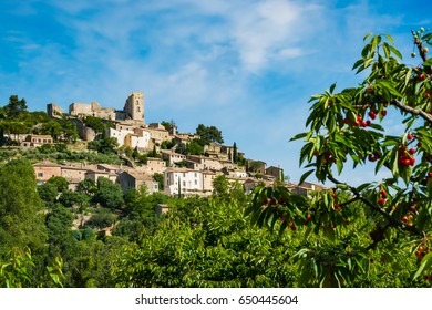 View of Lacoste village in Provence, France.