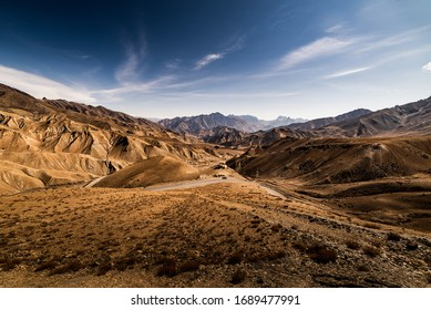 view of the Ladakh Range of Mountains from Leh in India