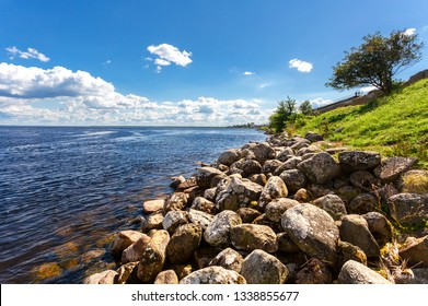 View of the Ladoga lake, boulders and the Oreshek fortress in Shlisselburg, Russia