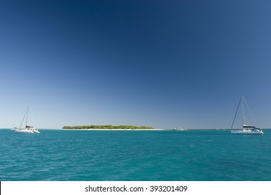 View of Lady Musgrave Island in Australia, the second of the islands on the Great Barrier Reef and a popular camping destination for tourists