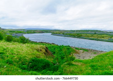 View of Lagarfljot Lake and river, in east Iceland