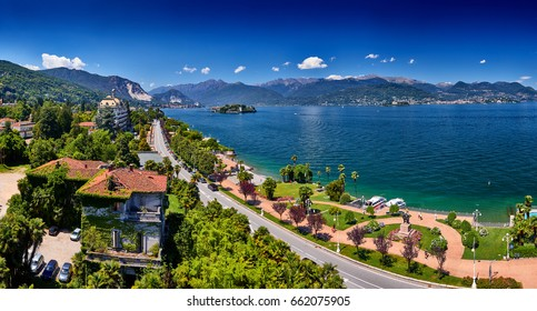 View of Lago Maggiore, Stresa Italy. Isola Superiore o dei Pescatori. Isola Bella. View of the quay Stresa.