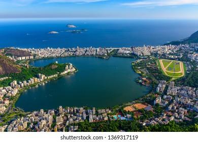 View of Lagoa Rodrigo de Freitas, Ipanema and Leblon in Rio de Janeiro, Brazil. Skyline of Rio de Janeiro.