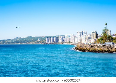 View to the lagoon with hotels and residential buildings in Vina del Mar, Chile