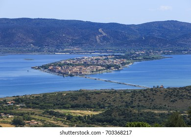 View of the lagoon of Orbetello, seen from Argentario mountain.