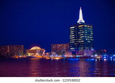 A view of the Lagos Lagoon at night, Victoria Island in Lagos, Nigeria