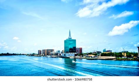 A view of the Lagos Lagoon, Victoria Island in Lagos, Nigeria