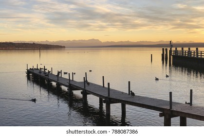 """View of the lake """"Ammersee"""" near Munich in Bavaria during sunset"""